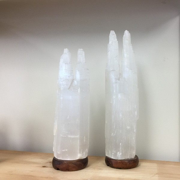 Selenite Lamp Jumbo White 17""