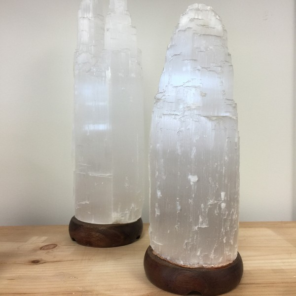 Selenite Lamp Large White 13""