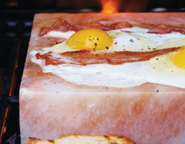 Himalayan Salt Block Recipe for Grill-Fried Bacon and Eggs