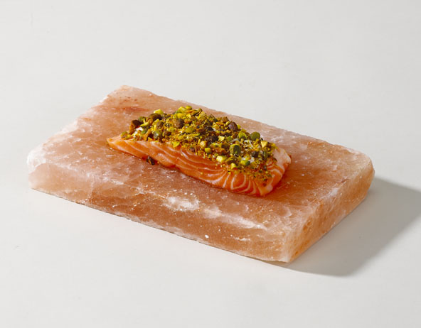 Fancy salmon broiled on Himalayan cooking salt plank (salt block)