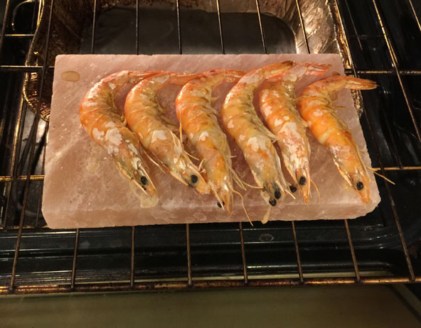 Fantastic Grilled Shrimp on salt plank in 15 minutes. Anyone can do.