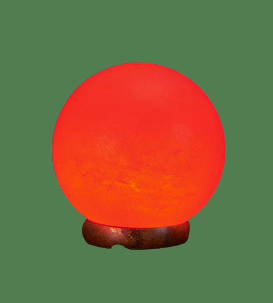Himalayan Salt Lamp Shaped Sphere Red (White crystal with red bulb)
