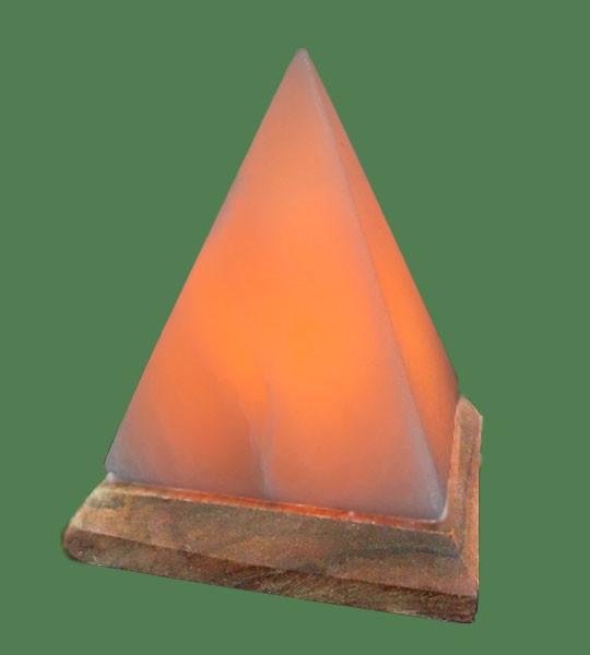 Himalayan Salt Lamp Amber Pyramid (White crystal with amber bulb)