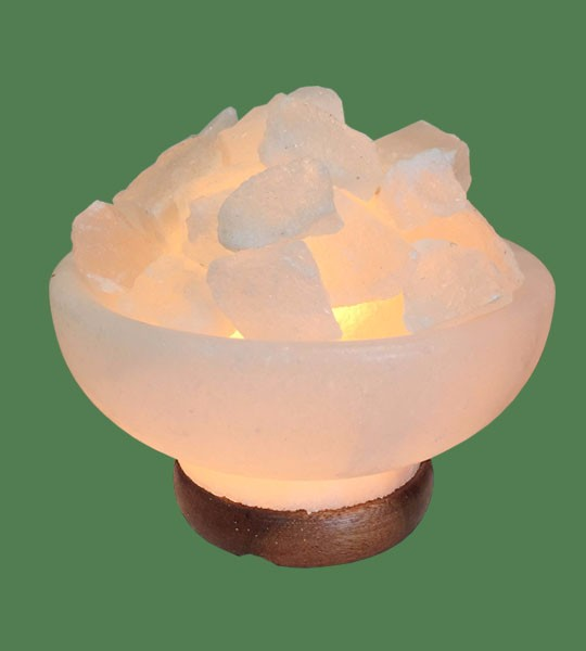 Himalayan Salt Lamp White Fire Bowl Round