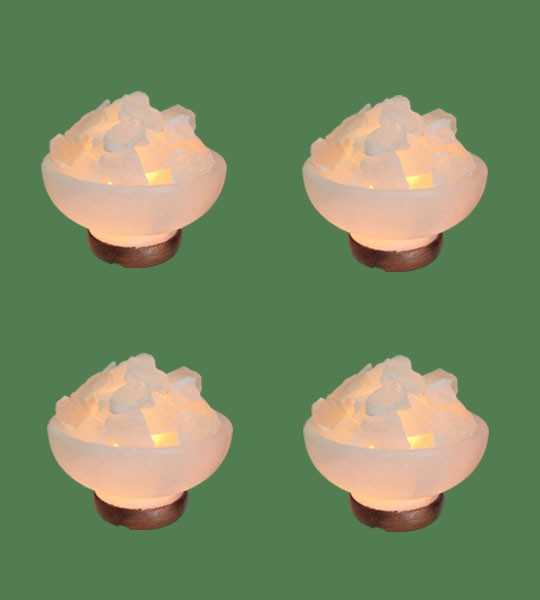 Himalayan Salt Lamp Shaped White Fire Bowl Round 4 units