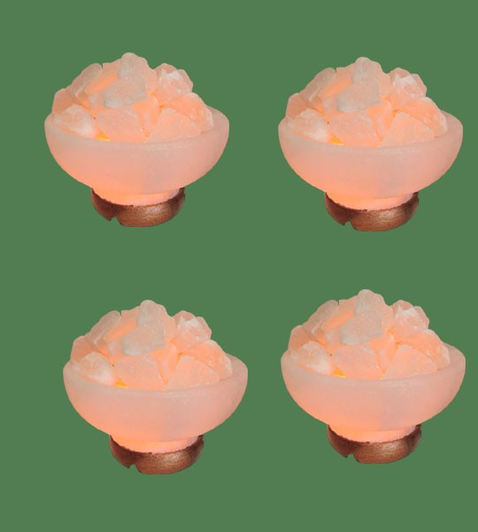Himalayan Salt Lamp Amber Round Fire Bowl 4 units (White crystal with amber bulb)