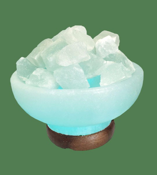 Himalayan Salt Lamp Blue Round Fire Bowl (White crystal with blue bulb)