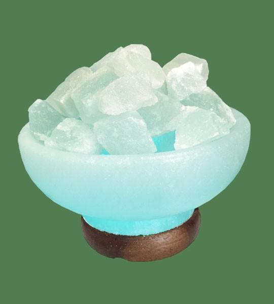 Salt Lamp Blue Bulb : Himalayan Salt Lamp Blue Round Fire Bowl (White crystal with blue bulb)