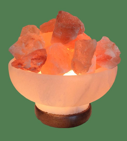 Himalayan Salt Lamp Shaped White Fire Bowl Round with Pink Chunk