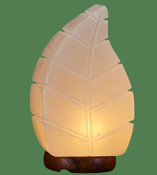 Himalayan Salt Lamp Shaped White Leaf