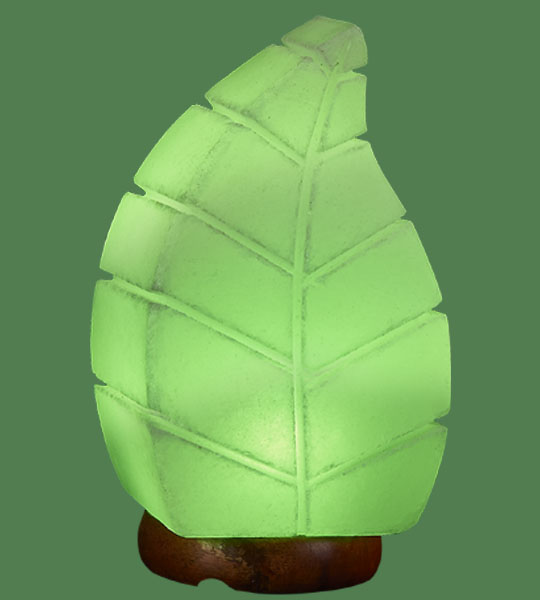 Himalayan Salt Lamp Shaped Leaf Green (White crystal with green bulb)