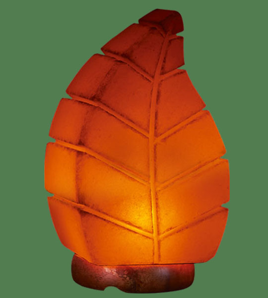 Himalayan Salt Lamp Shaped Leaf Orange (White crystal with orange bulb)