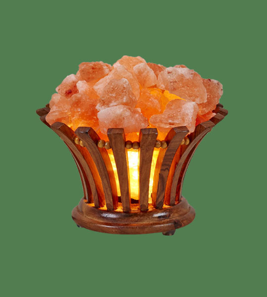 Himalayan Salt Lamp Wooden Flower Basket