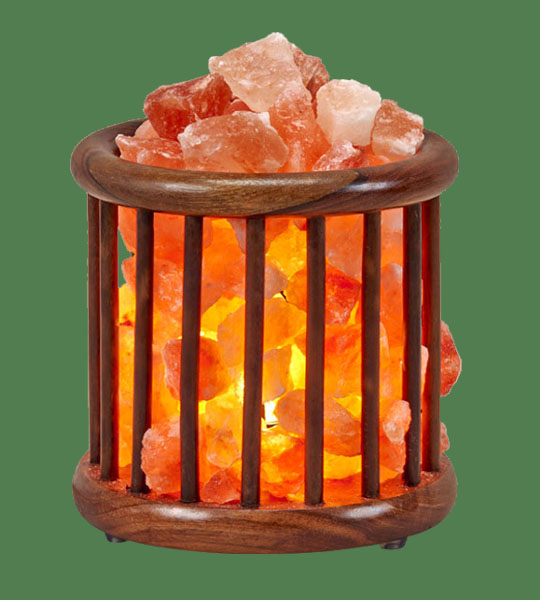 Himalayan Salt Lamp Basket Wooden Medium Round Tall