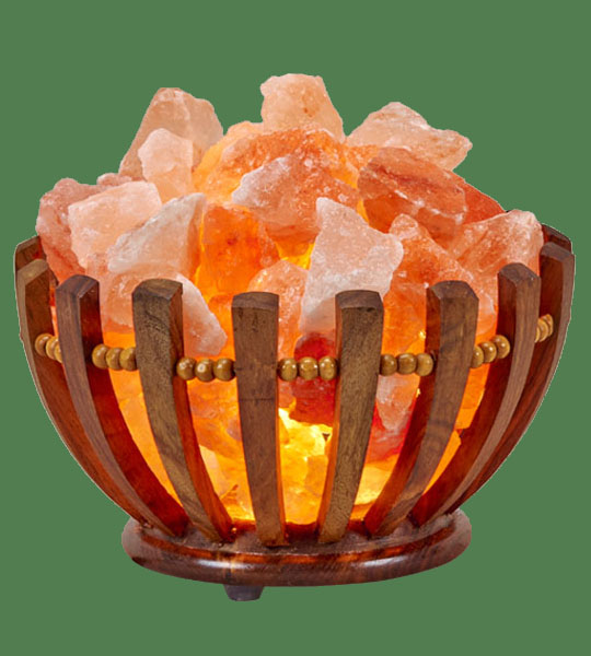 Himalayan Salt Lamp Basket Wooden Medium Round Fat
