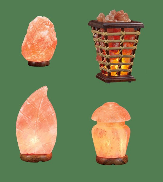 Himalayan Salt Lamps 1 Micro + 1 Leaf + 1 Wooden Basket Medium Square + 1 Mushroom