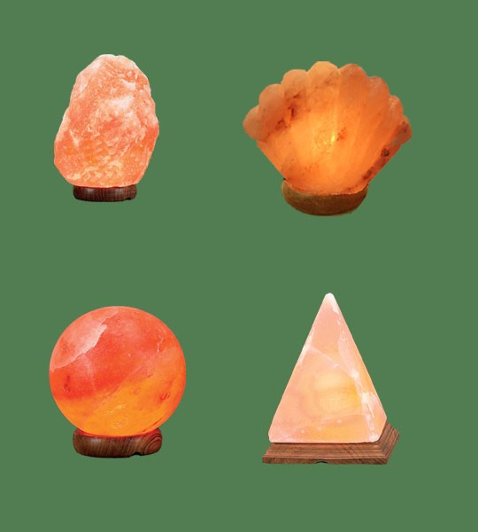 Himalayan Salt Lamps 1 Micro + 1 Sea Shell + 1 Sphere + 1 Pyramid