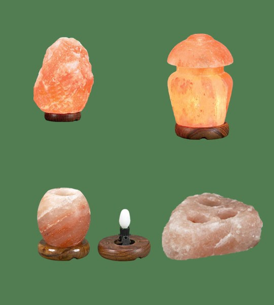 Himalayan Salt Lamps 1 Micro + 1 Mushroom + 1 Night Light + 1 Votive Candle holer 3 hole plate