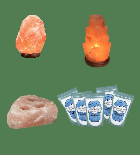 Himalayan Salt Lamps 1 Micro + 1 Flower + 1 Votive Candle Holder 3 hole plate + 5 White Fine Gourmet salt 500g