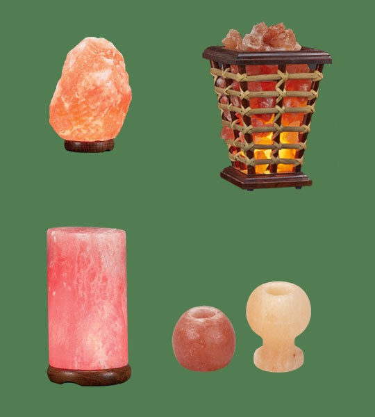 Himalayan Salt Lamps 1 Micro +  1 Wooden Basket Medium Square + 1 Cylinder + 1 Candle Holder Apple + 1 Candle holder Goblet