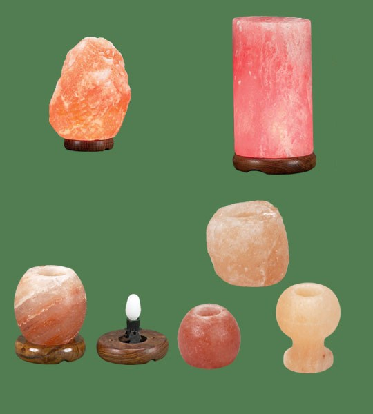 Himalayan Salt Lamps 1 Micro +  1 Cylinder + 1 Candle Holder Apple + 1 Candle holder Goblet + 1 Candle Holder Large + 1 Night light