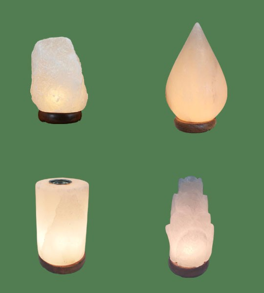 Himalayan Salt Lamps 1 White Micro + 1 White Tear Drop + 1 White Cylinder Diffuser + 1 White Flower