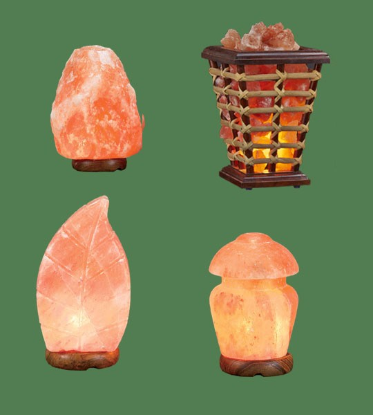 Himalayan Salt Lamps 1 Mini + 1 Leaf + 1 Wooden Basket Medium Square + 1 mushroom