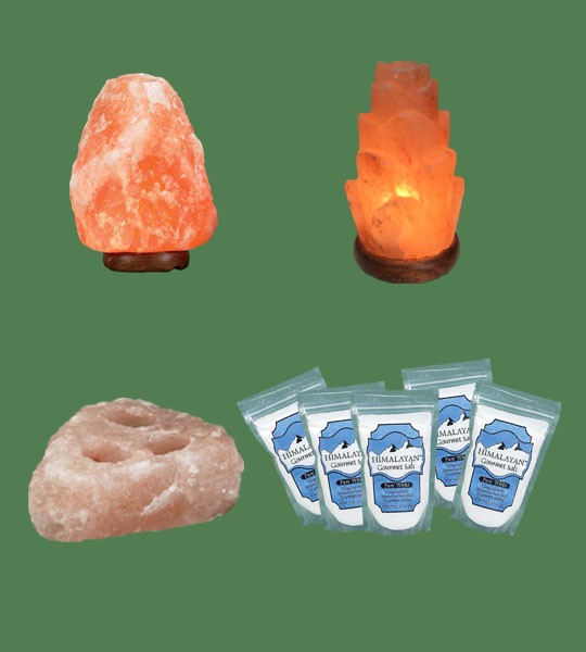 Himalayan Salt Lamps 1 Mini + 1 Flower + 1 Votive Candle Holder 3 hole plate + 5 White Fine Gourmet salt 500g