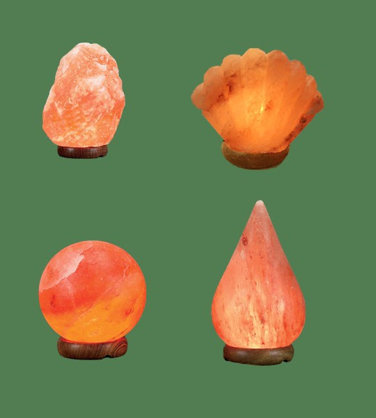 Himalayan Salt Lamps 1 Micro + 1 Sea Shell + 1 Sphere + 1 Tear Drop