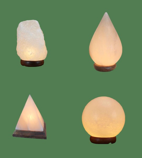 Himalayan Salt Lamps 1 White Micro + 1 White Tear Drop + 1 White Pyramid + 1 White Sphere