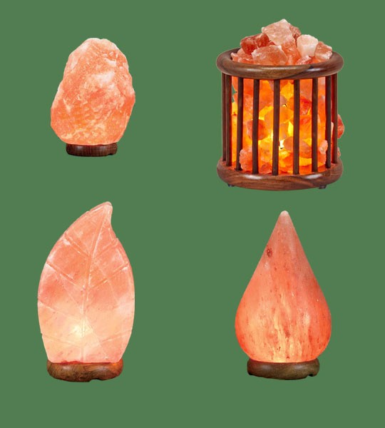 Himalayan Salt Lamps 1 Micro + 1 Leaf + 1 Wooden Basket Medium Round Tall + 1 Tear Drop
