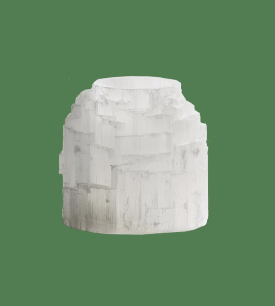 Selenite Candle holder Natural Top