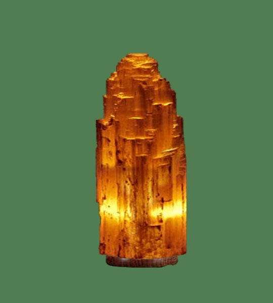 Selenite Lamp Small Orange (White crystal with orange bulb) 9""