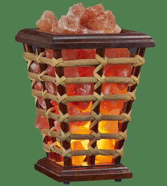 Himalayan Salt Lamp Basket Wooden Square Medium